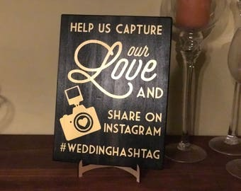 Instagram/Social Media Wooden Wedding Sign, Hashtag Sign, Hashtag Wedding Sign, Wedding Decor, Social Media Wedding