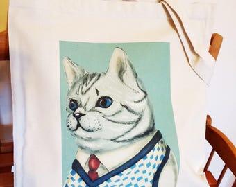 Gray cat design canvas tote bag 10oz