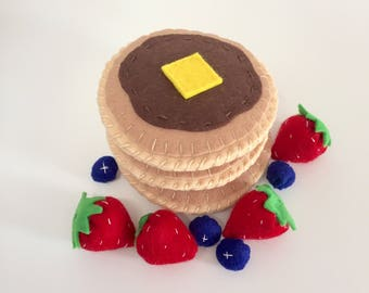 Free Shipping!,Felt pancakes, felt breakfast set, felt food set