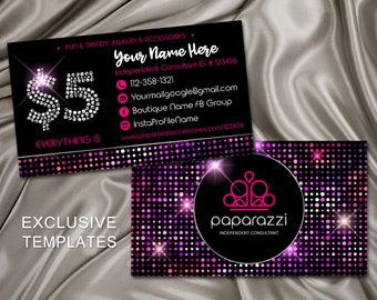 Paparazzi Business Cards, Free Personalized, Paparazzi Jewelry Consultant Card, Home office approved, Consultant Luxury Card, graphico, PBC1