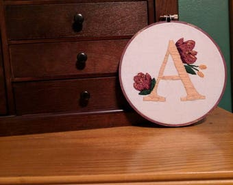 "Personalized Floral Embroidery Art | Decorative Wall Hanging | 6"" by AtlanticSoulx"