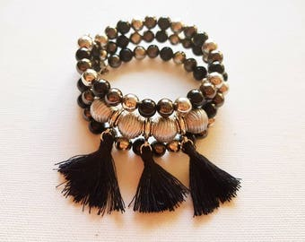 Bracelet, Beaded Bracelet, Bohemian Bracelet, Black Grey Bracelet, Tassel Bracelet, Memory Wire Bracelet, Women Bracelet, Stack Bracelet