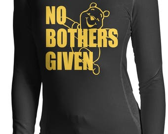 No Bothers Given - Winnie the Pooh,Disney Long Sleeve Shirt, Zero Bothers Given Long Sleeve Shirt S - 2XL