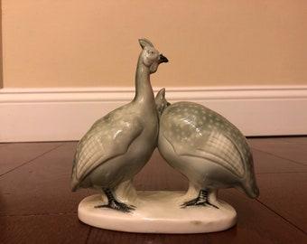 Vintage Mother-Child Bird Ceramic Sculpture