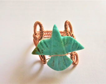 Turquoise Phoenix ring in copper wire weave jewelry  11th anniversary Turquoise gift  Interwoven wire weave