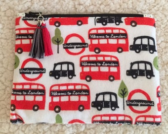 London bus - Underground - cab - England - back to school - zippered case - pencil case - zippered pouch - makeup bag - small bag