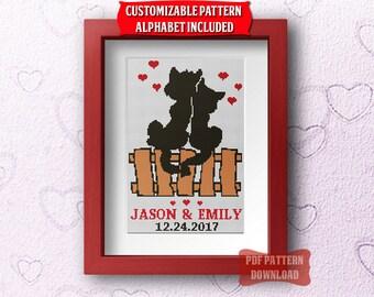 Wedding cross stitch pattern Customizable sampler alphabet Modern cross stitch Cats couple Valentines gift Engagement Counted cross stitch