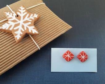 Ceramic Earrings-Christmas engravings