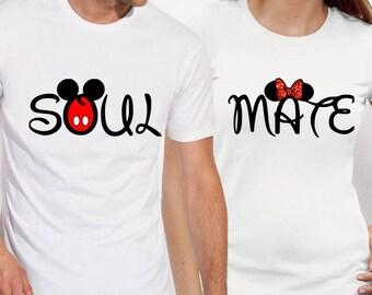 SOUL MATE shirts Soul Mate tshirts Soul Mate Couple T shirts Soul Mate Disney Set Couple Matching Shirts
