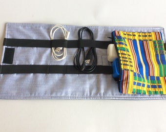 Travel cord organizer cable organizer cable holder travel organizer African fabric zipper pouch