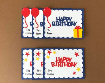 Birthday Gift Tags, Set of 6, Gift Tags, Birthday Tags, Handmade Gift Tags, Handmade Birthday Gift Tags, FunCutCrafts