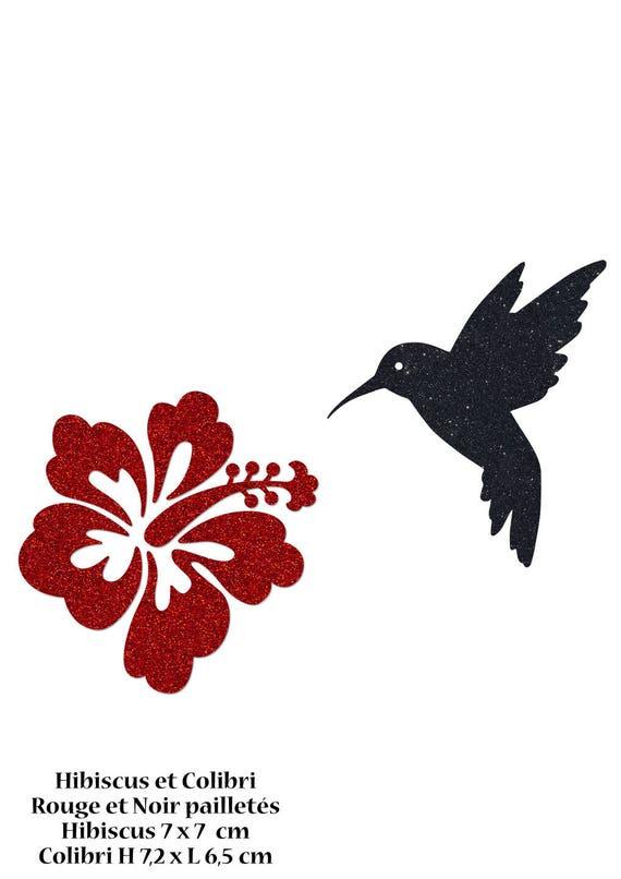 motifs colibri et fleur hibiscus en flex thermocollant 2