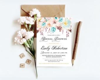 Boho Bridal Shower Printable Invites Template Bridal Brunch Bridal Party Invitation Watercolor Floral Invitation Digital Editable Invitation