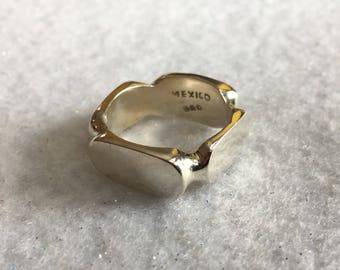 Ring-Square Sterling Silver Marked Mexico 925