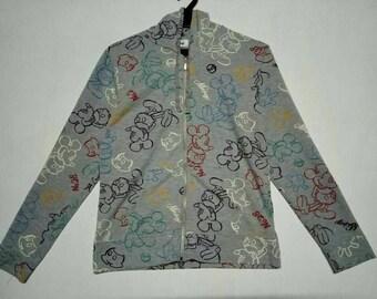Mickey Mouse Full Print Design Hoodies Sweatshirts Zipper Up Medium Size
