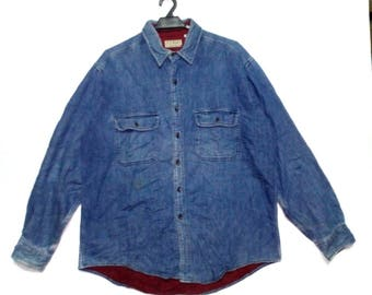 Vintage LL Bean Button Up Shirt Denim Style Large Size Made In Usa