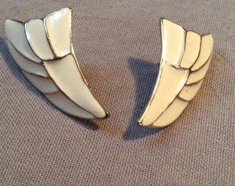 Vintage enameled wing earrings