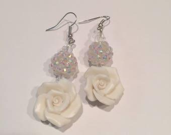 DANGLING White on White Earrings Bridal Wedding Elegant