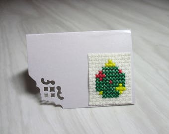 "Mini Card embroidered place ""Green Christmas ball"" brand"