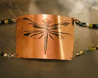 Dragonfly on Copper with square glass beads