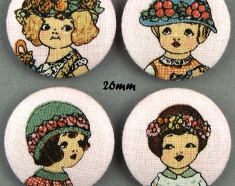 Buttons fabric - dolls - Paper Dolls - 26mm - (26-05)