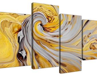 Mustard Yellow and Grey Abstract Canvas Picture - 4 Panel - 130cm Wide
