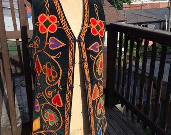 70's Ethnic Boho Applique Vest