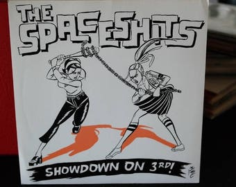 The Space Shits- Showdown on 3rd- Spacetrekkin- 7 inch vinyl record with picture sleeve- roller derby girls Punk