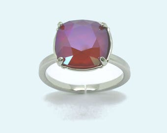 Valentine's day - square ring, solitaire ring, Swarovski, red ring, Adjustable ring silver plated ring