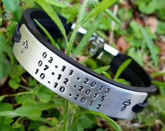 Personalized Wife to Husband Gift Personalized Gift for Boyfriend Gift for Cross Mens Leather Bracelet Man Coordinate