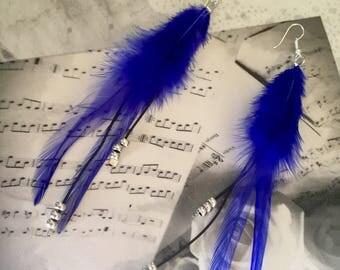 Earrings blue feathers