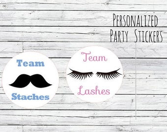 DIY Lashes or Staches Gender Reveal Party Stickers Team Boy, Team Girl, Baby Shower Voting, Favor Tags, Labels, You Choose Size