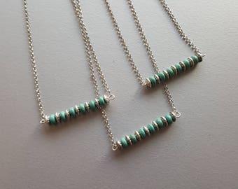Gemstone Bar Necklace. Turquoise Necklace. Silver Chain Necklace. Everyday Simple Necklace. Gemstone Boho Jewelry. Minimalist Necklace.