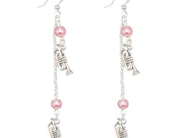 Dangling earrings * silver plated trumpet * Pink Pearl