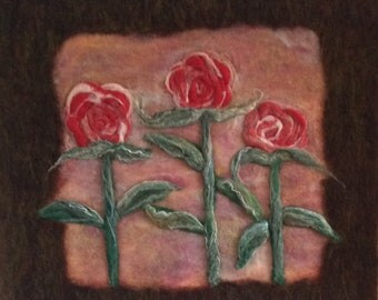 Beautiful 3 roses Needle felted