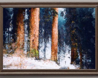 Forest Winter, painting, wall, print, decorative, night, restaurant, decor, apartment, art, illustration, picture, image, america, trip