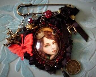 Gothic ALICE IN WONDERLAND brooch