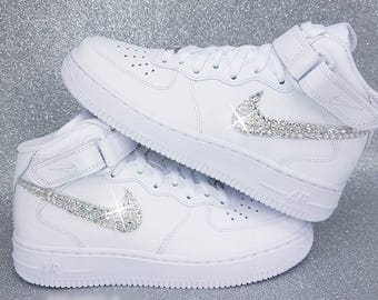 Men's Custom Swarovski Crystal Nike Air Force One Mid Top In White Kicks