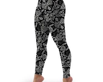 Black Paisley Stretch Lycra High-waist Leggings