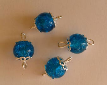 5 connectors 8mm blue Crackle glass beads