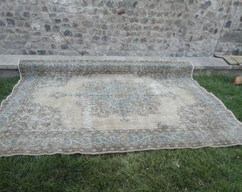 Oushak rug,Area rug,boho rug, room size rug,Turkish vintage rug,hand woven wool rug,muted color rug,134'' x 92'' large rug,low pile rug