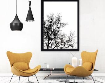 Winter tree print minimalist print monochrome print black and white print scandi print scandinavian art minimalist art minimalist poster