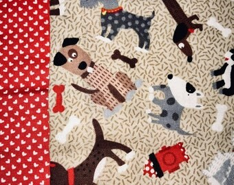 Fun Red & Tan Dog Patterned Child/ Toddler Sized Sewn Blanket