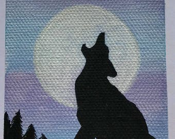 Silhouette Wolf Howling at the Moon Acrylic Painting, Blue & Purple Background