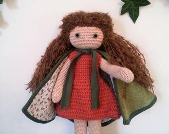 "Crochet cotton thread and wool ""Lulu in Brocéliande"" Doll"