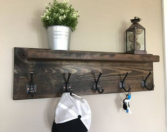 Grayson II Entryway Coat Rack with Shelf- Wall Decor   5 Hooks Coat Hanger