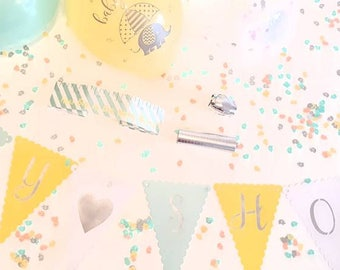 Baby Shower Decorations Kit. Neutral baby shower. Baby shower decs. Baby shower package.