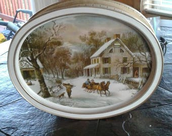 Vintage Currier and ives tin lid comes off and makes a tray