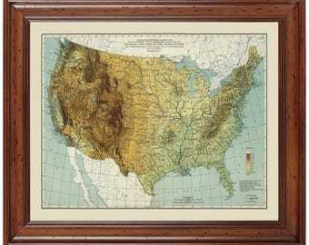 Physical Map Etsy - Physical us map