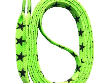 SNORS - lace - printed flax GRANDSON star neon green 140 cm, approx. 10 mm